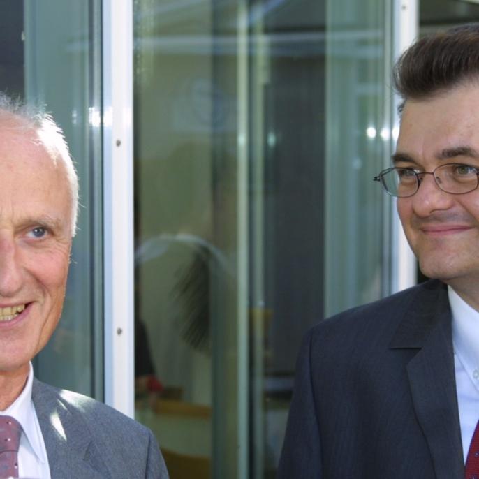 Die beiden Institutsleiter: Prof. Hügel und Prof. Graf
