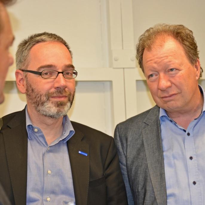 Rektor Prof. Wolfram Ressel und Kanzler Jan Gerken im Gespräch mit Prof. Thomas Graf